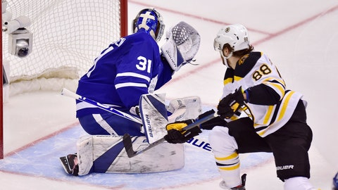 <p>               Boston Bruins right wing David Pastrnak (88) scores on Toronto Maple Leafs goaltender Frederik Andersen (31) during the second period of Game 4 of an NHL hockey first-round playoff series Wednesday, April 17, 2019, in Toronto. (Frank Gunn/The Canadian Press via AP)             </p>