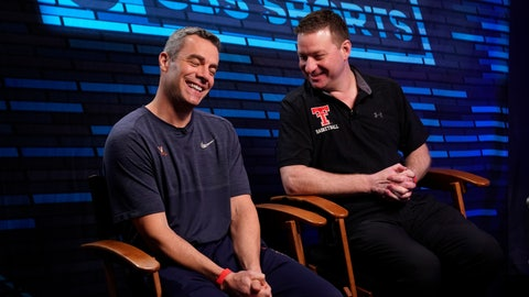 "<p>               Virginia head coach Tony Bennett, left, and Texas Tech head coach Chris Beard talk as they arrive at an interview for CBS Sports Network's ""We Need to Talk"" show before the championship game of the Final Four NCAA college basketball tournament, Sunday, April 7, 2019, in Minneapolis. (AP Photo/David J. Phillip)             </p>"