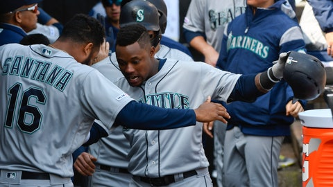 <p>               Seattle Mariners' Tim Beckham, right, celebrates in the dugout with Domingo Santana (16) after hitting a three-run home run against the Chicago White Sox during the fifth inning of a baseball game in Chicago, Saturday, April 6, 2019. (AP Photo/Matt Marton)             </p>