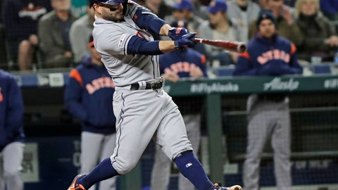 <p>               Houston Astros' Jose Altuve hits a grand slam against the Seattle Mariners during the sixth inning of a baseball game Friday, April 12, 2019, in Seattle. (AP Photo/Ted S. Warren)             </p>