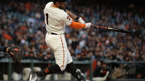 <p>               San Francisco Giants' Kevin Pillar swings for a three-run double off San Diego Padres' Joey Lucchesi during the second inning of a baseball game Tuesday, April 9, 2019, in San Francisco. (AP Photo/Ben Margot)             </p>