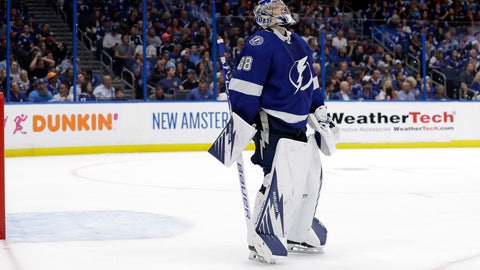 <p>               Tampa Bay Lightning goaltender Andrei Vasilevskiy reacts after giving up a goal to Columbus Blue Jackets defenseman Seth Jones during the third period of Game 1 of an NHL Eastern Conference first-round hockey playoff series Wednesday, April 10, 2019, in Tampa, Fla. (AP Photo/Chris O'Meara)             </p>