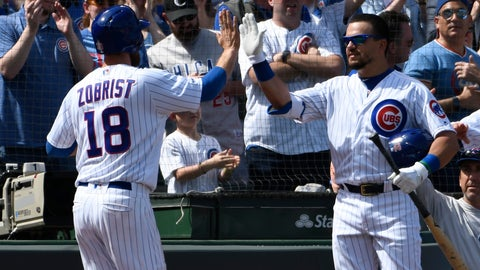 <p>               Chicago Cubs' Ben Zobrist (18) is greeted by Kyle Schwarber (12) after scoring against the Pittsburgh Pirates during the second inning of a baseball game, Monday, April 8, 2019, in Chicago. (AP Photo/David Banks)             </p>