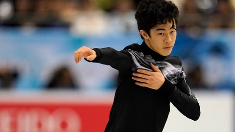 <p>               Nathan Chen of the United States performs his men's free skating routine during the ISU World Team Trophy Figure Skating competition Friday, April 12, 2019 in Fukuoka, southwestern Japan. (AP Photo/Toru Hanai)             </p>