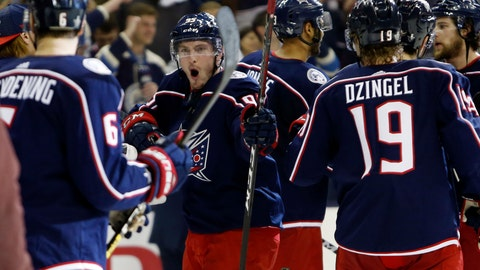<p>               Columbus Blue Jackets' Matt Duchene celebrates the team's win over the Tampa Bay Lightning in Game 4 of an NHL hockey first-round playoff series, Tuesday, April 16, 2019, in Columbus, Ohio. The Blue Jackets beat the Lightning 7-3. (AP Photo/Jay LaPrete)             </p>