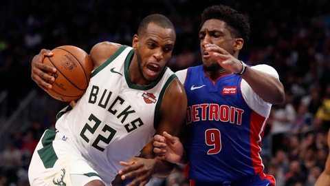 <p>               Milwaukee Bucks forward Khris Middleton (22) is defended by Detroit Pistons guard Langston Galloway (9) during the first half of Game 4 of a first-round NBA basketball playoff series, Monday, April 22, 2019, in Detroit. (AP Photo/Carlos Osorio)             </p>