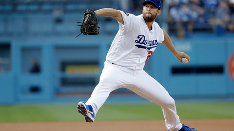 <p>               Los Angeles Dodgers starting pitcher Clayton Kershaw throws to the Pittsburgh Pirates during the first inning of a baseball game Saturday, April 27, 2019, in Los Angeles. (AP Photo/Marcio Jose Sanchez)             </p>