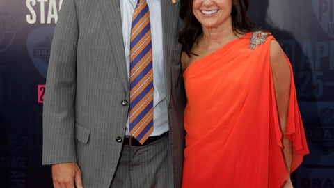 <p>               Clemson head coach Dabo Swinney and his wife Kathleen Bassett, walk the red carpet ahead of the first round at the NFL football draft, Thursday, April 25, 2019, in Nashville, Tenn. (AP Photo/Mark Humphrey)             </p>