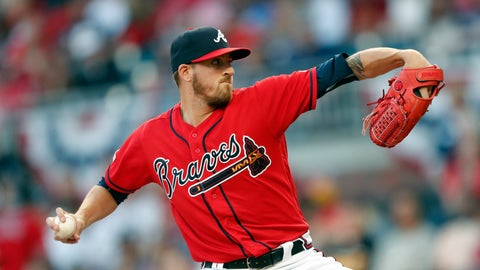 <p>               Atlanta Braves starting pitcher Kevin Gausman works against the Miami Marlins in the first inning of baseball game Friday, April 5, 2019, in Atlanta. (AP Photo/John Bazemore)             </p>