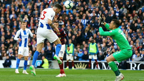 <p>               Brighton & Hove Albion's Pascal Gross, center left, scores his side's first goal of the game during their English Premier League match against Newcastle United at the AMEX Stadium, Brighton, England, Saturday, April 27, 2019. (Gareth Fuller/PA via AP)             </p>