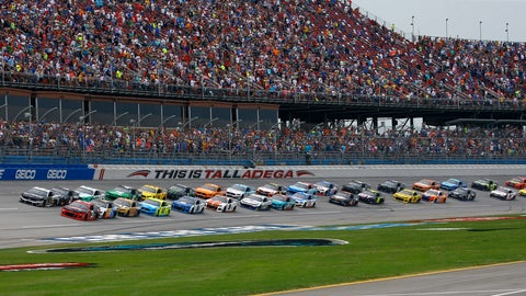 <p>               Austin Dillon (3) leads the pack to start a NASCAR Cup Series auto race at Talladega Superspeedway, Sunday, April 28, 2019, in Talladega, Ala. (AP Photo/Butch Dill)             </p>