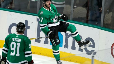<p>               Dallas Stars right wing Alexander Radulov (47) reacts with teammate Tyler Seguin (91) looking on after Radulov scored a goal during the second period of an NHL hockey game against the Philadelphia Flyers in Dallas, Tuesday, April 2, 2019. (AP Photo/LM Otero)             </p>