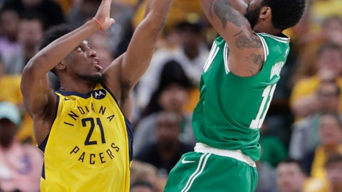 <p>               Boston Celtics guard Kyrie Irving (11) shoots over Indiana Pacers forward Thaddeus Young (21) during the second half of Game 4 of an NBA basketball first-round playoff series in Indianapolis, Sunday, April 21, 2019. The Celtics defeated the Pacers 110-106 to win the series 4-0. (AP Photo/Michael Conroy)             </p>