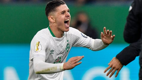 <p>               Bremen's Milot Rashica celebrates after scoring the opening goal during the German soccer cup, DFB Pokal, quarterfinal match between FC Schalke 04 and Werder Bremen in Gelsenkirchen, Germany, Wednesday, April 3, 2019. (AP Photo/Martin Meissner)             </p>