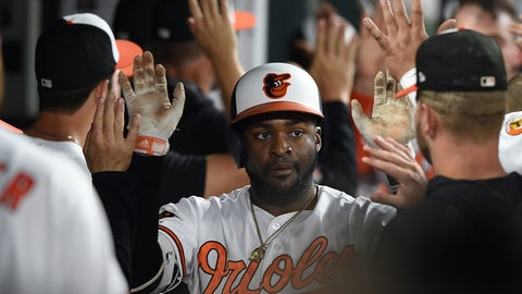 <p>               Baltimore Orioles' Dwight Smith Jr. is congratulated in the dugout after hitting a three run home run against the Chicago White Sox in the fourth inning of a baseball game, Tuesday, April 23, 2019, in Baltimore. (AP Photo/Gail Burton)             </p>