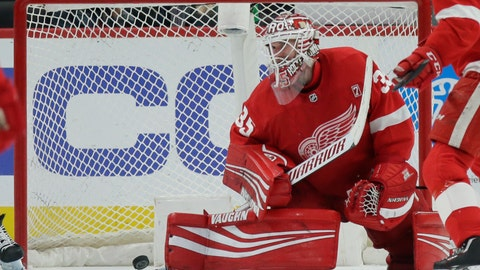 <p>               Detroit Red Wings goaltender Jimmy Howard (35) cannot stop a shot by Buffalo Sabres left wing Conor Sheary during the second period of an NHL hockey game Saturday, April 6, 2019, in Detroit. (AP Photo/Duane Burleson)             </p>