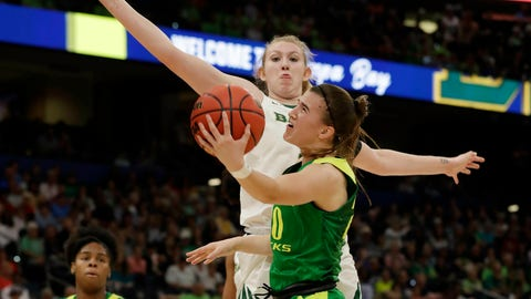<p>               Oregon guard Sabrina Ionescu (20) drives to the basket as Baylor forward Lauren Cox (15), defends during a women's Final Four NCAA college basketball semifinal tournament game Friday, April 5, 2019, in Tampa, Fla. (AP Photo/Chris O'Meara)             </p>