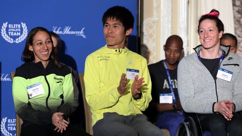 <p>               Desiree Linden, left, of Washington, Mich., Yuki Kawauchi, center, of Japan, and Tatyana McFadden, right, of Clarksville, Md., applaud during a media availability on Friday, April 12, 2019, in Boston in advance of the 123rd Boston Marathon on Monday. Linden won the women's division, Kawauchi won the men's division, and McFadden women's handcycle division of the 2018 Boston Marathon. (AP Photo/Charles Krupa)             </p>