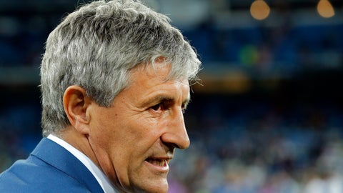<p>               FILE _ In this Wednesday, March 1, 2017 file photo, Las Palmas coach Quique Setien waits for the start of a Spanish La Liga soccer match between Real Madrid and Las Palmas at the Santiago Bernabeu stadium in Madrid, Spain. The Spanish league only has four games remaining, but there are some coaches who may not make it that far. Real Betis manager Quique Setien and Girona's Eusebio Sacristan are under pressure after losing streaks, while Alaves coach Abelardo Fernandez has had a falling out with his club over his future.  (AP Photo/Paul White, File)             </p>