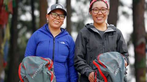 <p>               In this photo taken Saturday, March 30, 2019, Nima Doma, 34, right, and Furdiki Sherpa, 43, stand for photographs after their morning exercise as they train to summit Mount Everest, in Kathmandu, Nepal. Five years after one of the deadliest disasters on Mount Everest, three people from Nepal's ethnic Sherpa community, including Doma and Sherpa, are preparing an ascent to raise awareness about the Nepalese mountain guides who make it possible for hundreds of foreign climbers to scale the mountain and survive. The two women lost their husbands in the 2014 ice avalanche on Everest's western shoulder that killed 16 fellow Sherpa guides. (AP Photo/Niranjan Shrestha)             </p>