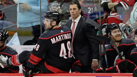 <p>               Carolina Hurricanes coach Rod Brind'Amour watches as Hurricanes' Jordan Martinook (48) takes the ice against the Washington Capitals during the first period of Game 3 of an NHL hockey first-round playoff series in Raleigh, N.C., Monday, April 15, 2019. (AP Photo/Gerry Broome)             </p>