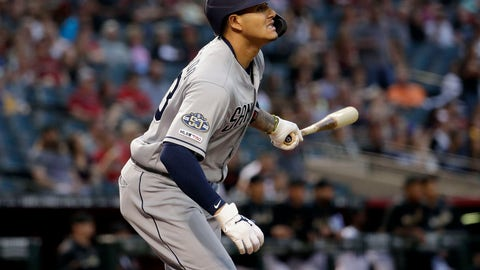 <p>               San Diego Padres' Manny Machado watches his solo home run against the Arizona Diamondbacks during the first inning of a baseball game Friday, April 12, 2019, in Phoenix. (AP Photo/Matt York)             </p>