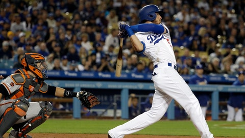 <p>               Los Angeles Dodgers' Cody Bellinger follows through on his grand slam off San Francisco Giants' Madison Bumgarner during the third inning of a baseball game Tuesday, April 2, 2019, in Los Angeles. (AP Photo/Marcio Jose Sanchez)             </p>