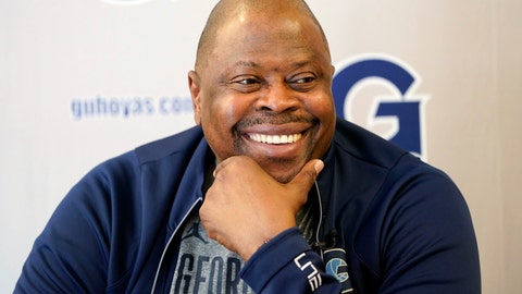 <p>               FILE - In this Oct. 30, 2018, file photo, Georgetown men's basketball head coach Patrick Ewing smiles during a television interview while speaking about the upcoming season at Georgetown University in Washington. The New York Knicks are turning to Ewing in hopes of lottery luck, the NBA basketball team announced Saturday, April 13, 2019. (AP Photo/Pablo Martinez Monsivais, File)             </p>