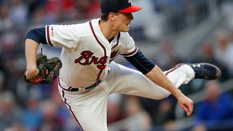 <p>               Atlanta Braves starting pitcher Max Fried (54) works against the Chicago Cubs in the first inning of baseball game Thursday, April 4, 2019, in Atlanta. (AP Photo/John Bazemore)             </p>