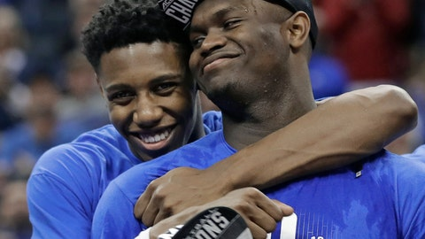 <p>               FILE - In this March 16, 2019, file photo, Duke's RJ Barrett, left, hugs Zion Williamson after Duke defeated Florida State in the NCAA college basketball championship game of the Atlantic Coast Conference tournament, in Charlotte, N.C. Duke's Zion Williamson and R.J. Barrett are the second freshman teammates to earn first-team All-America honors. Williamson and Barrett headed The Associated Press All-America team released on Tuesday, April 2, 2019, joined by Tennessee's Grant Williams, Murray State's Ja Morant and Cassius Winston of Michigan State. (AP Photo/Nell Redmond, File)             </p>