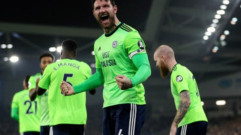 <p>               Cardiff City's Sean Morrison celebrates scoring against Brighton during the English Premier League soccer match at the AMEX Stadium, Brighton, England, Tuesday April 16, 2019. (Andrew Matthews/PA via AP)             </p>