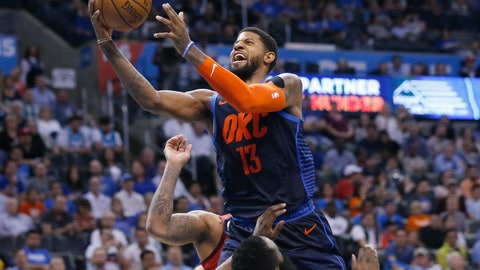 <p>               Oklahoma City Thunder forward Paul George (13) collides with Houston Rockets guard James Harden, bottom, and is called for a foul during the second half of an NBA basketball game Tuesday, April 9, 2019, in Oklahoma City. (AP Photo/Sue Ogrocki)             </p>
