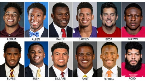 <p>               These photos provided by their respective schools shows prospects in the 2019 NFL Draft. Top row from left are: Johnathan Abram, Mississippi State; Josh Allen, Kentucky; Deandre Baker, Georgia; Alex Barnes, Kansas State; Nick Bosa, Ohio State and Marquise Brown, Oklahoma. Bottom row from left are: Brian Burns, Florida State; Devin Bush, Michigan; Andre Dillard, Washington State; Noah Fant, Iowa; Clelin Ferrell, Clemson and Corey Ford, Oklahoma. (AP Photo)             </p>