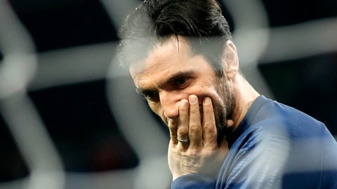 <p>               FILE - In this March 17, 2019 file photo, PSG's goalkeeper Gianluigi Buffon appears to be in a pensive mood prior to the French League One soccer match between Paris-Saint-Germain and Olympique Marseille at the Parc des Princes stadium in Paris. When Paris Saint-Germain owners signed Buffon last summer in the hope of finally winning the Champions League, they expected him to deliver at big games. Not only Buffon did not make the saves they wanted in Europe's top competition, but the former Juventus 'keeper has also been mediocre in the French league. (AP Photo/Christophe Ena, File)             </p>
