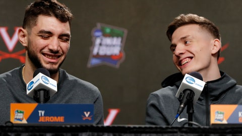 <p>               Virginia's Ty Jerome, left, and Kyle Guy laugh as they answer questions during a news conference for the championship of the Final Four NCAA college basketball tournament, Sunday, April 7, 2019, in Minneapolis. Virginia will play Texas Tech on Monday for the national championship. (AP Photo/Charlie Neibergall)             </p>