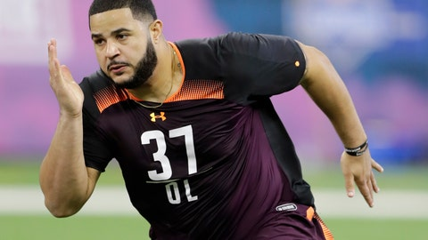 <p>               FILE - In this March 1, 2019, file photo, Texas A&M offensive lineman Erik McCoy runs a drill during the NFL football scouting combine, in Indianapolis. McCoy is a possible pick in the 2019 NFL Draft. (AP Photo/Darron Cummings, File)             </p>