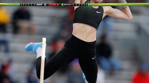 <p>               Sandi Morris clears the bar during the women's special pole vault at the Drake Relays athletics meet, Friday, April 26, 2019, in Des Moines, Iowa. (AP Photo/Charlie Neibergall)             </p>