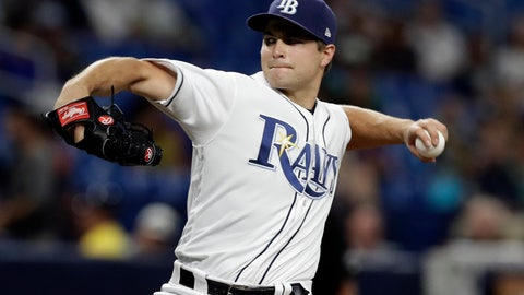 <p>               Tampa Bay Rays relief pitcher Jalen Beeks delivers to the Kansas City Royals during the sixth inning of a baseball game Tuesday, April 23, 2019, in St. Petersburg, Fla. (AP Photo/Chris O'Meara)             </p>