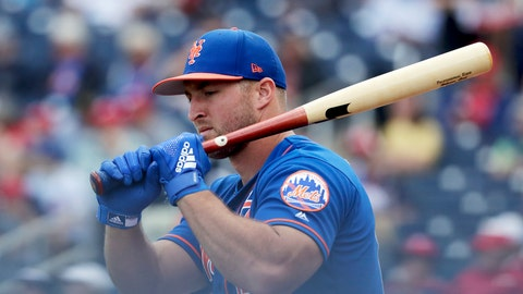 <p>               FILE - In this March 7, 2019, file photo, New York Mets' Tim Tebow loosens up before batting in an exhibition spring training baseball game against the Washington Nationals in West Palm Beach, Fla. Tebow is set to begin his third full season of minor league baseball. He was assigned to the Triple-A Syracuse Mets just over two weeks ago and opening day is Thursday, April 4, 2019. (AP Photo/Brynn Anderson, File)             </p>