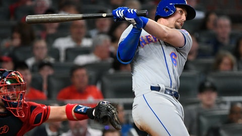 <p>               New York Mets' Jeff McNeil watches two-run double to right field during the fourth inning of a baseball game against the Atlanta Braves, Friday, April 12, 2019, in Atlanta. (AP Photo/John Amis)             </p>