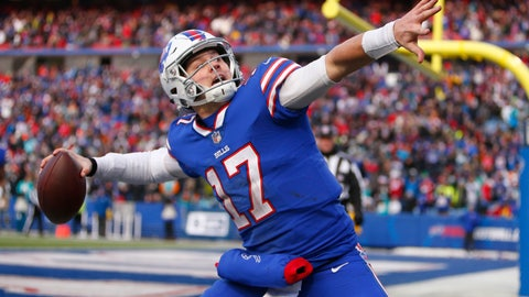 <p>               FILE - In this Dec. 30, 2018, file photo, Buffalo Bills quarterback Josh Allen celebrates his touchdown during the second half of an NFL football game against the Miami Dolphins in Orchard Park, N.Y.  Allen took it upon himself to be the Bills' one-man welcome committee in sending a text to each of the Bills' numerous free agent additions last month. (AP Photo/Jeffrey T. Barnes, File)             </p>