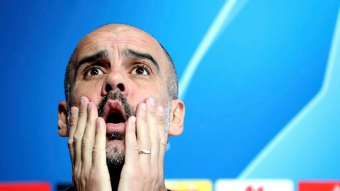 <p>               Manchester City manager Pep Guardiola during the press conference at the City Football Academy in Manchester, England, Tuesday April 16, 2019. Man City will play Tottenham in their Champions League Quarter Final 2nd leg soccer match on upcoming Wednesday. (Martin Rickett/PA via AP)             </p>