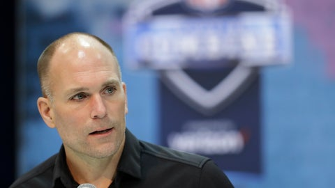 <p>               FILE - In this Feb. 27, 2019, file photo, Baltimore Ravens general manager Eric DeCosta speaks during a press conference at the NFL football scouting combine in Indianapolis. For the first time since the Ravens came to Baltimore, someone other than Ozzie Newsome will have the final say during the NFL draft. DeCosta moved up the corporate ladder after joining the Ravens at an entry level position in 1996, their first year after moving from Cleveland. Now that he's in charge, there's no telling what might happen when it comes time for Baltimore to make its first-round selection. (AP Photo/Darron Cummings, File)             </p>