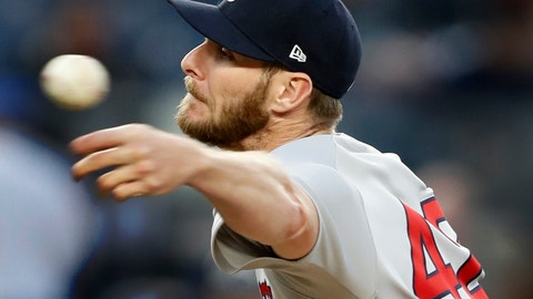 <p>               Boston Red Sox starting pitcher Chris Sale throws during the second inning of the team's baseball game against the New York Yankees, Tuesday, April 16, 2019, in New York. (AP Photo/Kathy Willens)             </p>