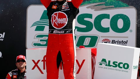 <p>               Driver Christopher Bell celebrates in Victory Lane after winning the NASCAR Xfinity Series auto race on Saturday, April 6, 2019, in Bristol, Tenn. (AP Photo/Wade Payne)             </p>