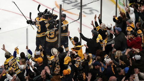 <p>               Boston Bruins fans celebrate after a goal by Bruins center Sean Kuraly (52) against the Toronto Maple Leafs during the third period of Game 7 of an NHL hockey first-round playoff series, Tuesday, April 23, 2019, in Boston. (AP Photo/Charles Krupa)             </p>