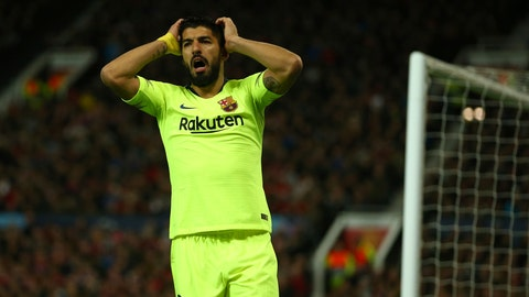 <p>               Barcelona's Luis Suarez reacts after missing an opportunity during the Champions League quarterfinal, first leg, soccer match between Manchester United and FC Barcelona at Old Trafford stadium in Manchester, England, Wednesday, April 10, 2019. (AP Photo/Dave Thompson)             </p>