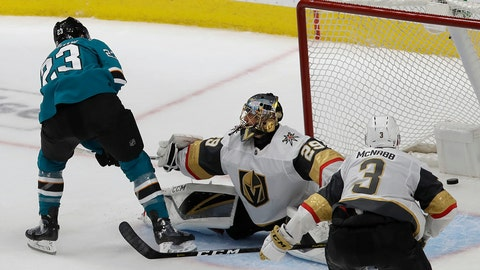 <p>               San Jose Sharks right wing Barclay Goodrow, left, scores a goal past Vegas Golden Knights goaltender Marc-Andre Fleury (29) during overtime of Game 7 of an NHL hockey first-round playoff series in San Jose, Calif., Tuesday, April 23, 2019. The Sharks won 5-4. (AP Photo/Jeff Chiu)             </p>