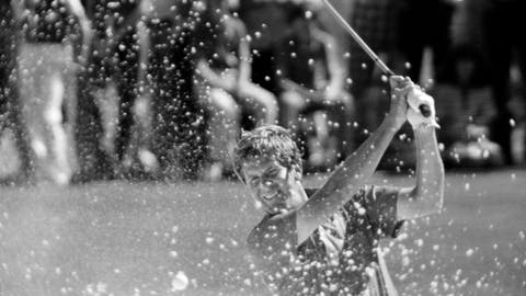 <p>               FILE - In this April 15, 1979 file photo ,Ed Sneed, early leader in the final day of the Masters, hits out of the sand on number 6. Sneed bogeyed the hole in Augusta, Ga. He wound up bogeying the last three holes and losing in a playoff. (AP Photo/File)             </p>
