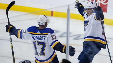 <p>               St. Louis Blues' Oskar Sundqvist (70) celebrates after scoring against the Winnipeg Jets with teammate Jaden Schwartz (17) during first-period NHL hockey playoff action in Winnipeg, Manitoba, Friday, April 12, 2019. (John Woods/The Canadian Press via AP)             </p>